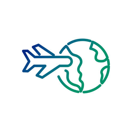 world planet earth with airplane flying line style icon vector illustration