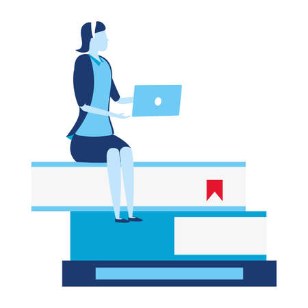businesswoman sitting books with laptop business success vector illustration 向量圖像