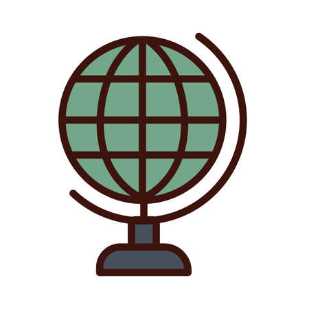 world planet line and fill style icon vector illustration design Иллюстрация