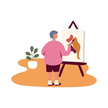 eldery man painting picture in home activity free form style vector illustration design Illusztráció