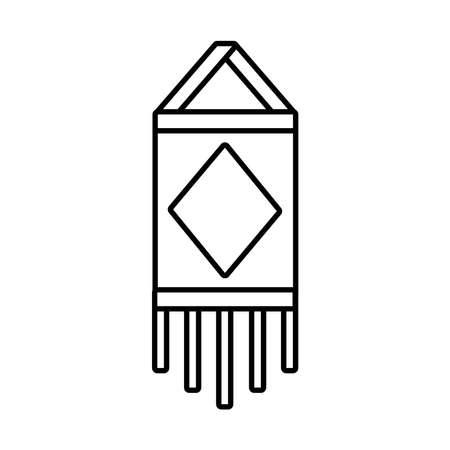 diwali paper lamp hanging decoration line style vector illustration design