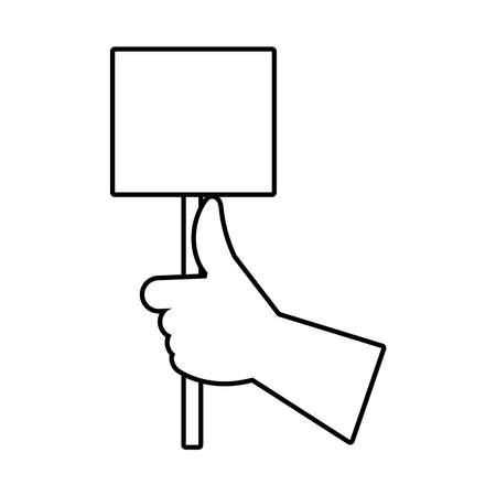 hand human with protest square banner line style icon vector illustration design