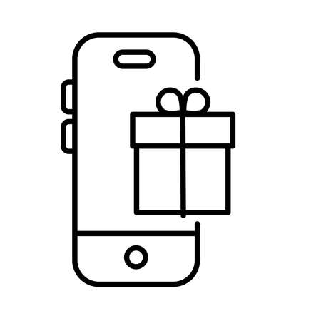 smartphone with gift payments online line style vector illustration design