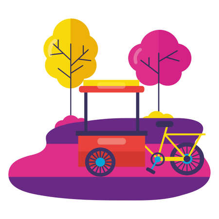 bicycle food cart street park vector illustration