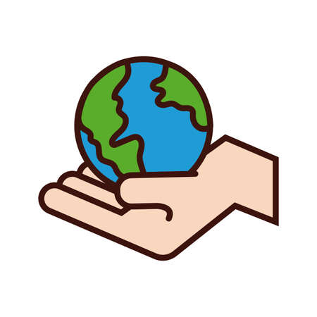 hand lifting world planet earth line and fill style vector illustration design