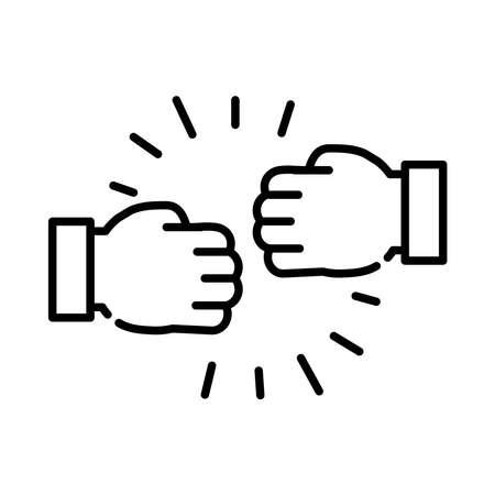 handshake fists line style icon vector illustration design