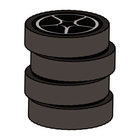 tires wheels cars isolated icon vector illustration design