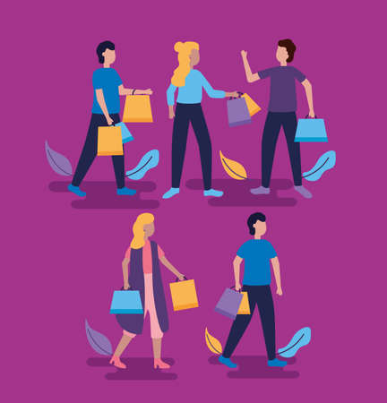 women and man carry shopping bags leaves vector illustration