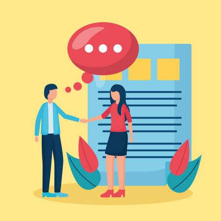 man and woman talk bubble business handshake vector illustration