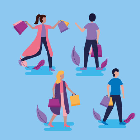 women and boys holding shopping bags leaves vector illustration