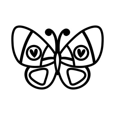 beautiful butterfly insect with hearts line style vector illustration design Stock fotó - 155717908