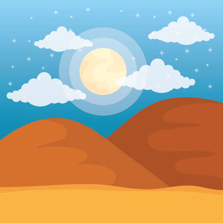 landscape desert dune sand sunny day sky vector illustration 스톡 콘텐츠 - 155719465