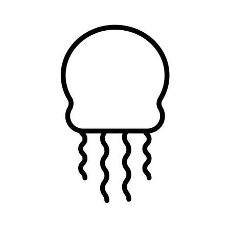 jellyfish sea animal line style icon vector illustration design