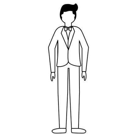 flat design wedding people groom in suit vector illustration