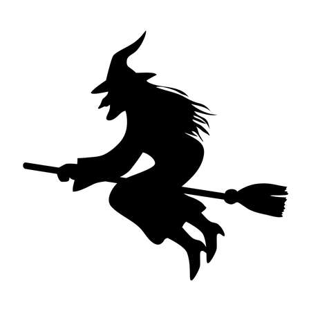 halloween witch on broom design, happy holiday and scary theme Vector illustration
