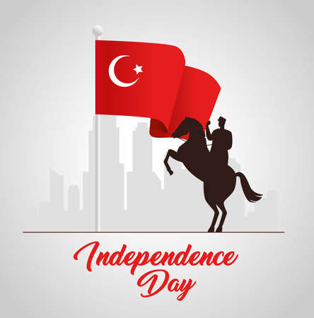 29 october republic day turkey with military in horse with flag vector illustration design