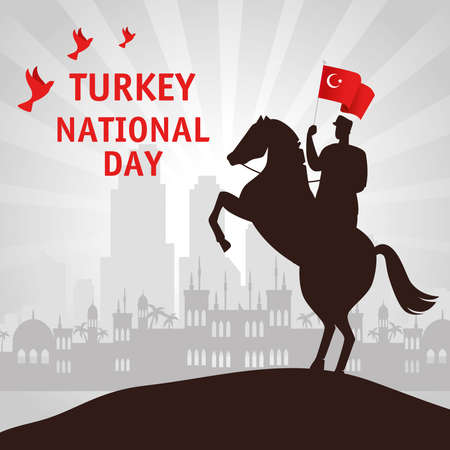 29 october republic day turkey, and military in horse with flag vector illustration design 向量圖像