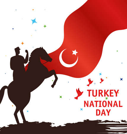 29 october republic day turkey, with military in horse and flag vector illustration design 向量圖像