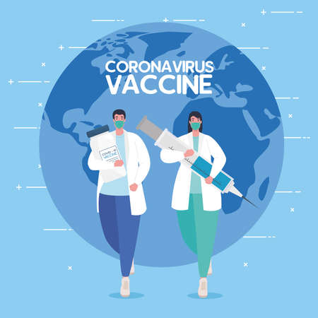 the race between country, for developing coronavirus covid19 vaccine, doctors running and world planet on background vector illustration design