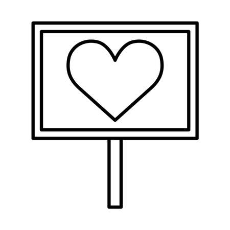 manifestation banner board with heart line style icon design, human rights and protest theme Vector illustration Illusztráció