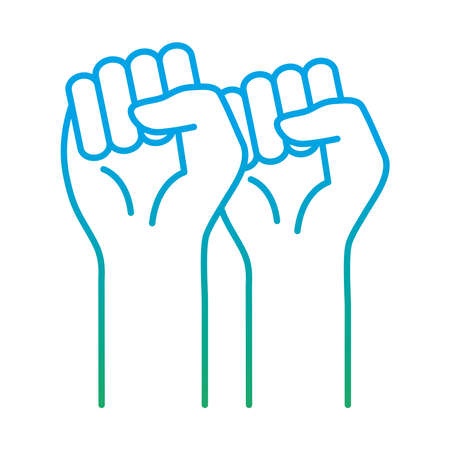 raised fist hands degraded style icon design, Manifestation human rights and protest theme Vector illustration Illusztráció