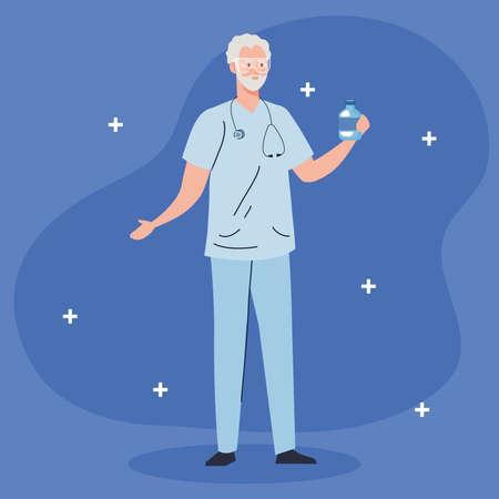 male doctor professional with bottle medicine vector illustration design