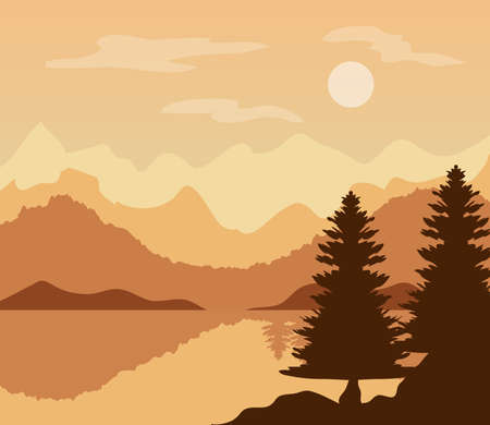 landscape in sunset moment with pine trees and lake vector illustration design