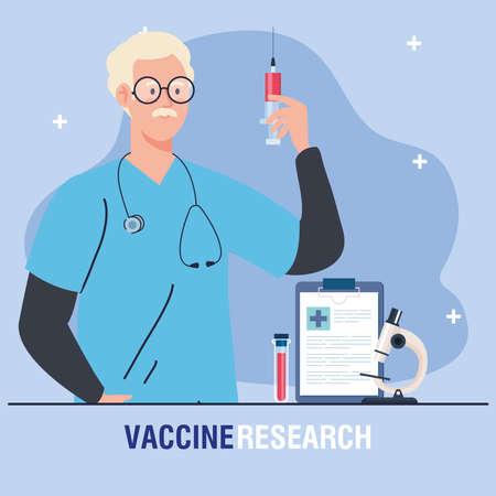 medical vaccine research, doctor with syringe and laboratory instruments, development coronavirus covid19 vaccine vector illustration design