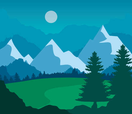 landscape nature with grass field, pine trees and mountains vector illustration design