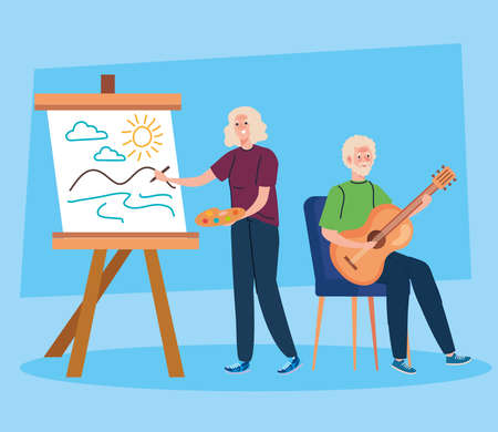 senior couple doing different activities and hobbies vector illustration design Stock fotó - 155750209