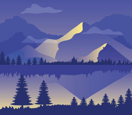 purple landscape with silhouettes of mountains, pine trees and lake vector illustration design 矢量图像