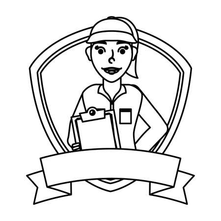 female young mechanic worker with checklist in shield frame vector illustration design  イラスト・ベクター素材