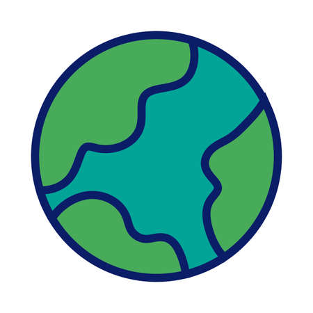 world planet earth line and fill style icon vector illustration design