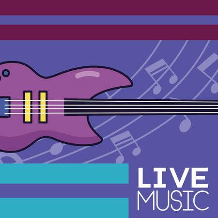 electric guitar live festival music poster vector illustration