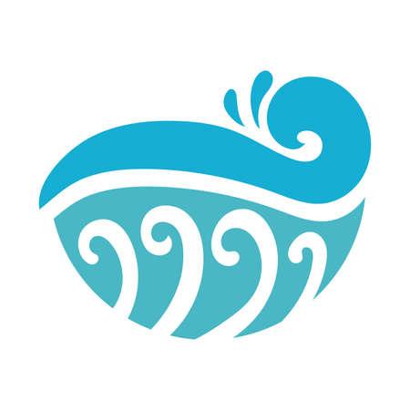 water wave ocean flat style icon vector illustration design Vector Illustratie