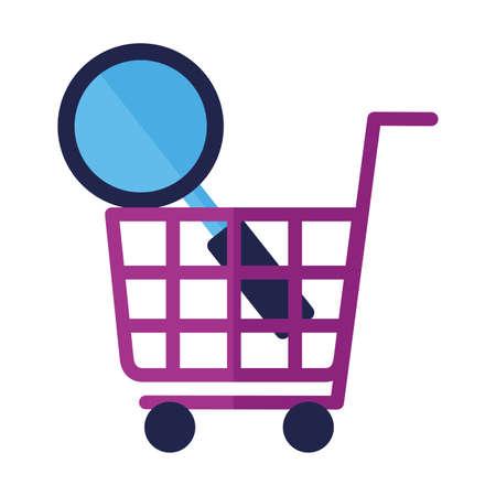 online shopping ecommerce cart magnifier vector illustration