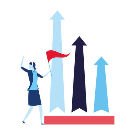 businesswoman with flag arrow growth business success vector illustration