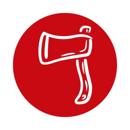 axe weapon block style icon vector illustration design