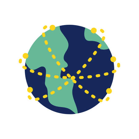 earth planet flat style icon vector illustration design