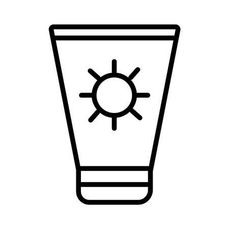 sun blocker cream product line style icon vector illustration design 向量圖像