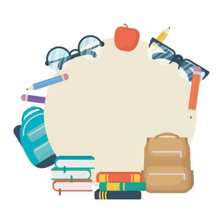 set of school supplies education circular frame vector illustration design