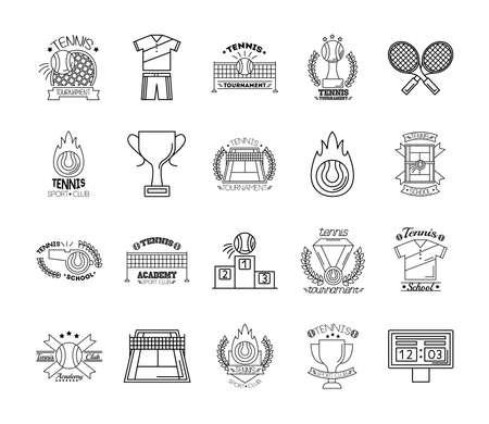 bundle of twenty sport tennis set icons vector illustration design Иллюстрация