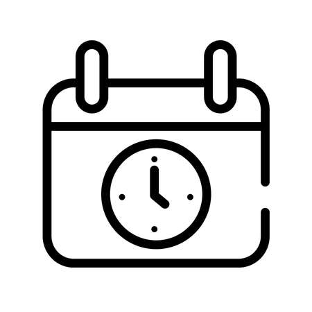 calendar reminder with watch line style icon vector illustration design