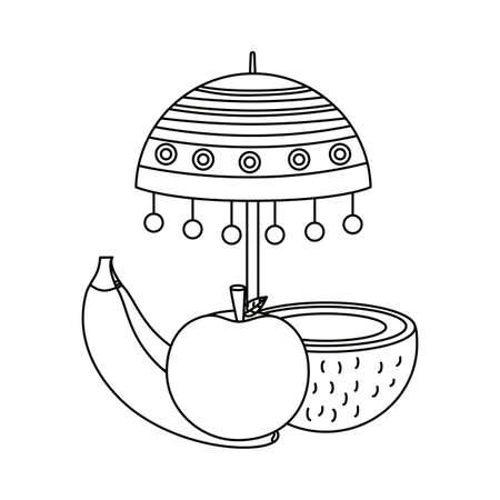 Umbrella design, Onam festival celebration culture traditional india and holiday theme Vector illustration