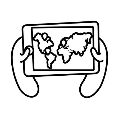 smartphone online things with earth planet maps line style vector illustration design