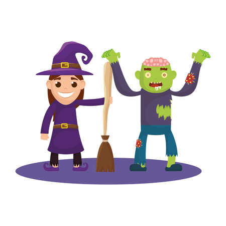 little kids with witch and zombie costumes characters vector illustration design