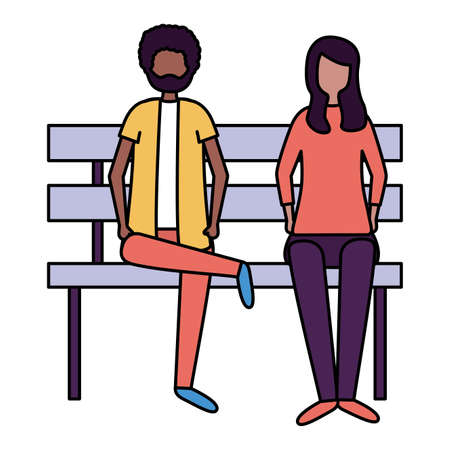 man and woman sitting on bench activities outdoors vector illustration