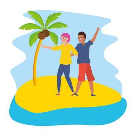 man and woman hugging couple happy vector illustration Иллюстрация