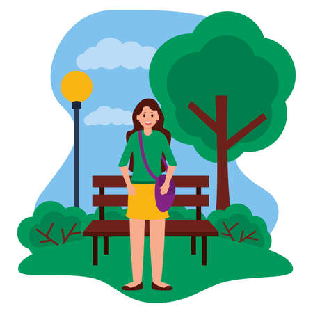 happy young woman standing in the park city vector illustration 矢量图像