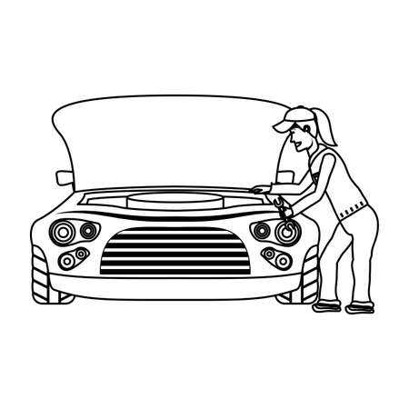 female young mechanic working in car character vector illustration design  イラスト・ベクター素材
